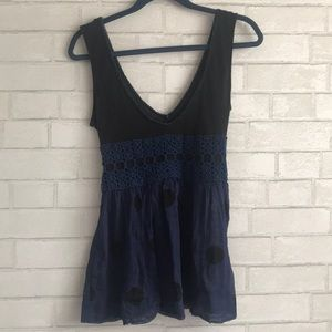 Free People Black and Navy Tie Babydoll Blouse
